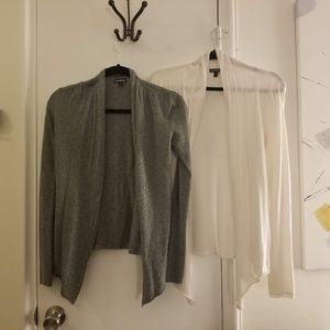 Express Work Cardigans: Size S in Gray & White